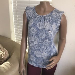 Ann Taylor LOFT t shirt tank top large blue creme